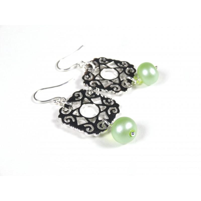 Boucles d'oreilles Les Rondes, vert anis transparent givré