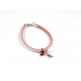 Bracelet Cuir perlé rose pâle, ambre et ivoire nacré
