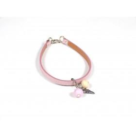Bracelet Cuir perlé rose pâle et ivoire