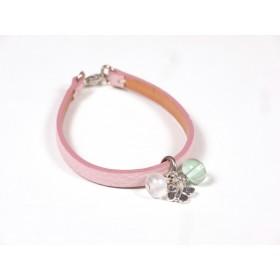 Bracelet Cuir perlé rose pâle, blanc nacré et vert d'eau