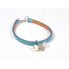Bracelet Cuir perlé bleu turquoise, beige et incolore