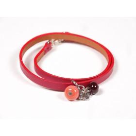 Bracelet Un-tour-puis-deux rouge, corail et marron