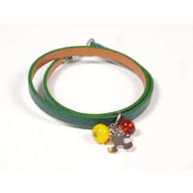 Bracelet Un-tour-puis-deux émeraude, jaune et ambre