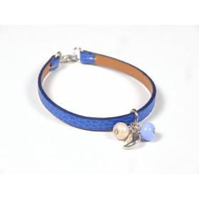 Bracelet Cuir perlé bleu roi, beige nacré bleu hortensia