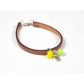 Bracelet Cuir perlé gold, vert anis et jaune citron