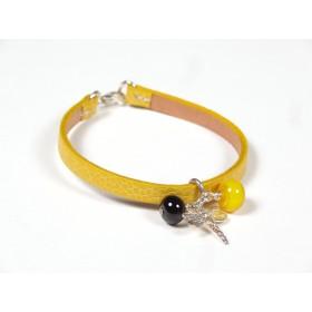 Bracelet Cuir perlé moutarde, jaune et noir