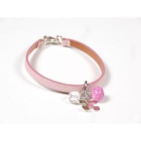 Bracelet Cuir perlé rose pâle, fuchsia et incolore