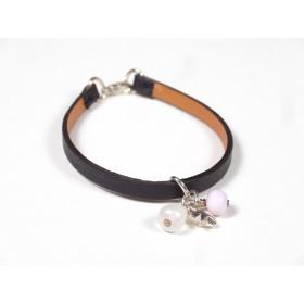 Bracelet Cuir perlé noir, rose pâle et nacré