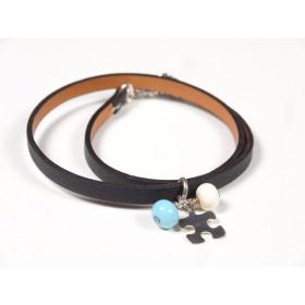 Bracelet Un-tour-puis-deux noir, bleu turquoise et beige