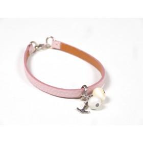 Bracelet Cuir perlé rose pâle, ivoire