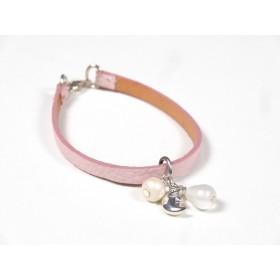 Bracelet Cuir perlé rose pâle, blanc et beige nacrés
