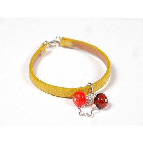 Bracelet Cuir perlé moutarde, orange et ambre