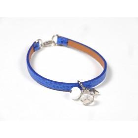 Bracelet Cuir perlé bleu roi, blanc et incolore