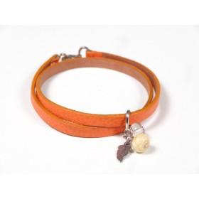 Bracelet Un-tour-puis-deux orange, incolore beige