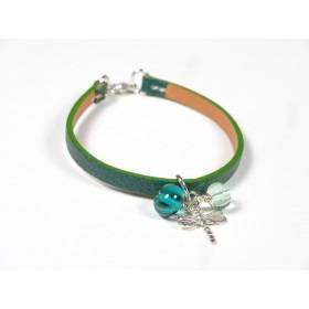 Bracelet Cuir perlé émeraude, vert marin et d'eau