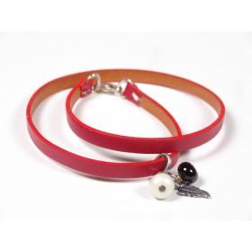 Bracelet Un-tour-puis-deux rouge, beige et noir