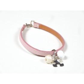 Bracelet Cuir perlé rose pâle, blanc et ivoire nacré