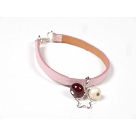 Bracelet Cuir perlé rose pâle, ivoire et marron