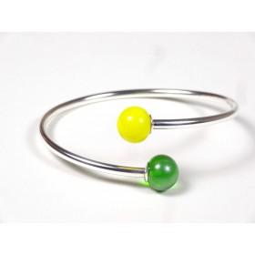 Bracelet Toi et Moi vert anis nacré et jaune citron