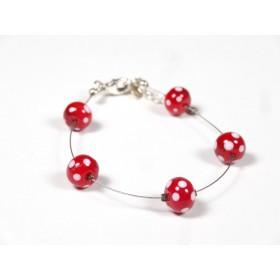 Bracelet 5P, rouge à pois blancs
