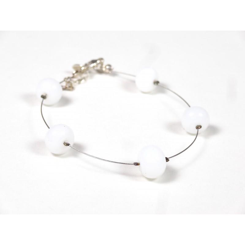 Bracelet 5P, blanc opalin