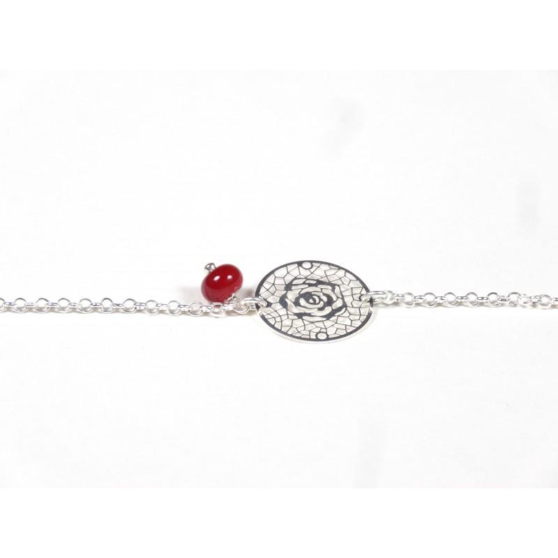 Bracelet Arabesques, rouge cerise