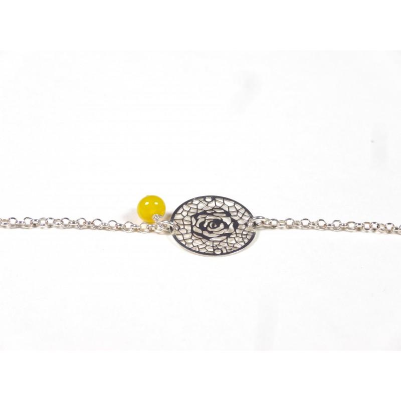 Bracelet Arabesques, jaune moutarde