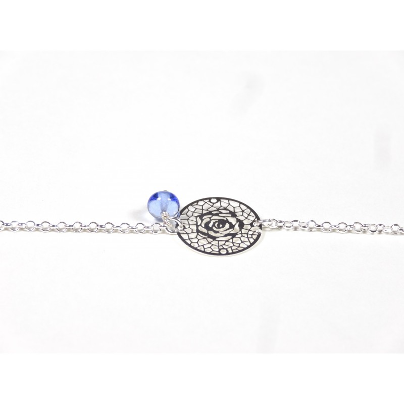 Bracelet Arabesques, bleu doux transparent