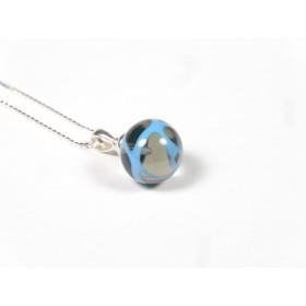 Collier Elégante gris transparent et fil bleu turquoise