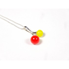 Collier Cherry orange et jaune citron