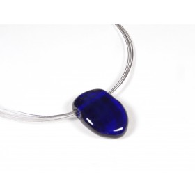 Collier bleu cobalt transparent