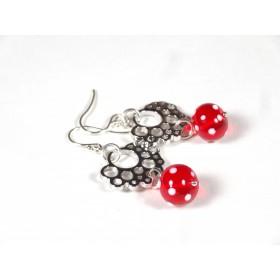 Boucles d'oreilles Les Rondes, rouge transparent pois blancs