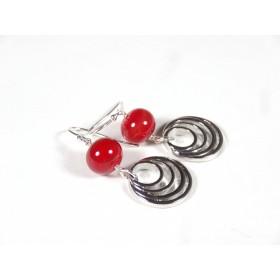 Boucles d'oreilles Les Rondes, rouge
