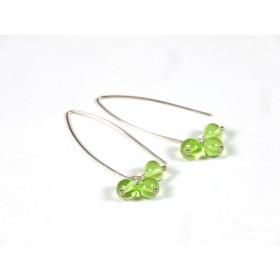 Boucles d'oreilles Perlinettes, vert transparent