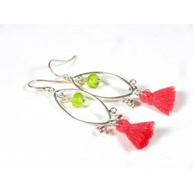Boucles d'oreilles Pompons, vert anis transparent