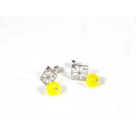 Boucles d'oreilles Quadrilles, jaune citron