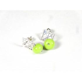 Boucles d'oreilles Quadrilles, vert anis