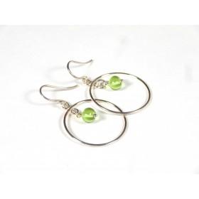 Boucles d'oreilles Créolines, vert transparent