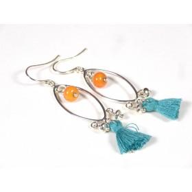 Boucles d'oreilles Pompons, corail