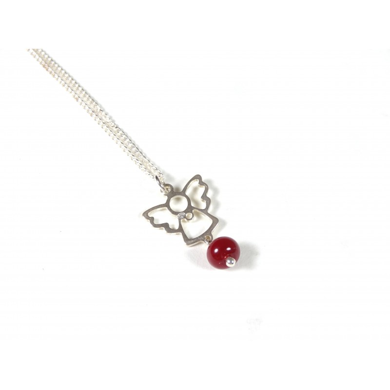 Collier enfant Angelot, rouge cerise