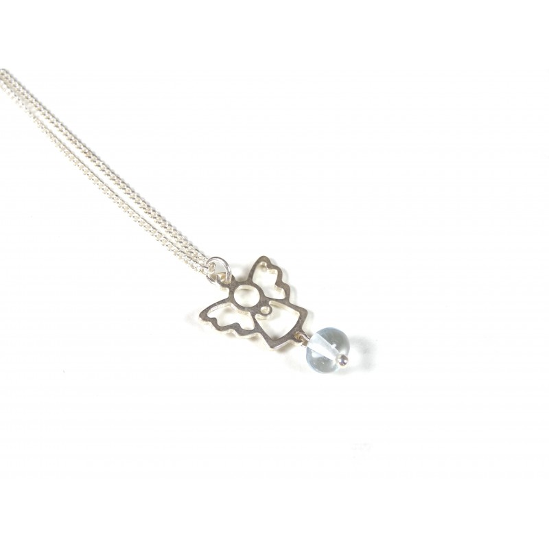 Collier enfant Angelot, bleu aigue-marine