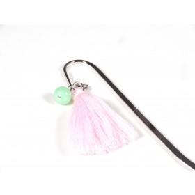 Marque page vert jade, rose