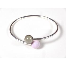 Bracelet Toi et Moi, rose pâle et gris fumé