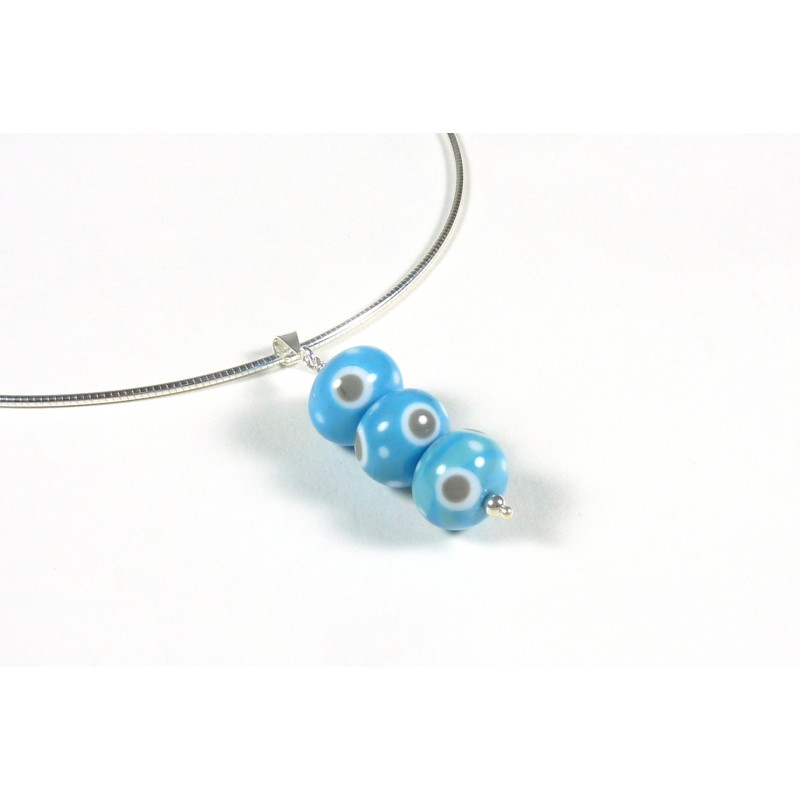 Collier Totem turquoise pois
