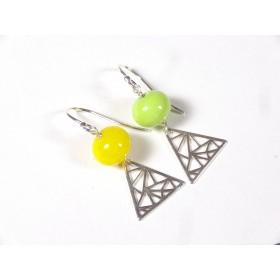 Boucles d'oreilles dépareillées, anis et citron