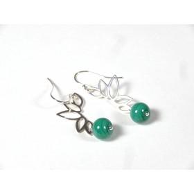 Boucles d'oreilles feuillage, vert emeraude