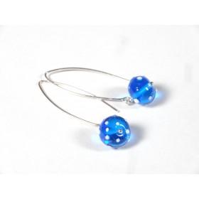 Boucles d'oreilles Fili, bleu turquoise pois blancs