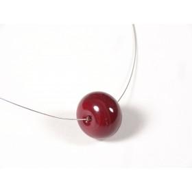 Collier Une perle, rouge cerise