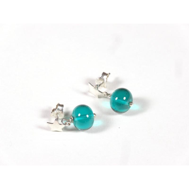 Clous pendants étoilés, vert marin