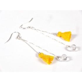 Boucles d'oreilles Pompons, jaune et incolore